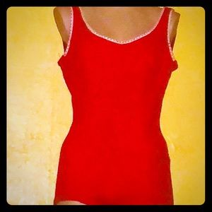Vintage early 60s red bathing suit by Bradley